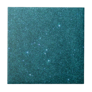Image of trendy teal glitter tile