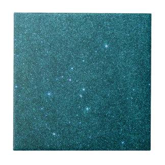 Image of trendy teal glitter ceramic tile