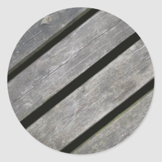 Image of Weathered Planks of Wood Classic Round Sticker