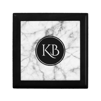 Image Of White & Gray Marble Custom Monogram Gift Box
