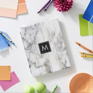 Image Of White & Gray Marble Stone Monogram iPad Cover