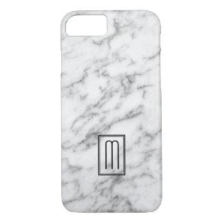 Image Of White & Gray Marble Texture Monogram iPhone 8/7 Case