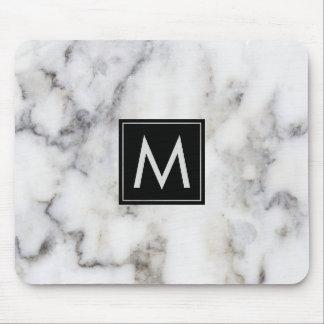 Image Of White Marble Stone Monogram Mouse Mat
