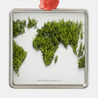 image of world map Silver-Colored square decoration