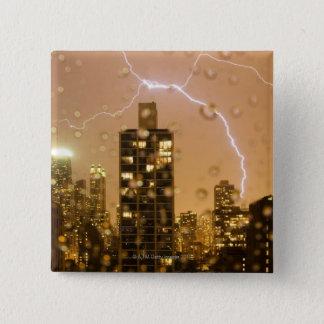 Image taken through rain splattered window 15 cm square badge