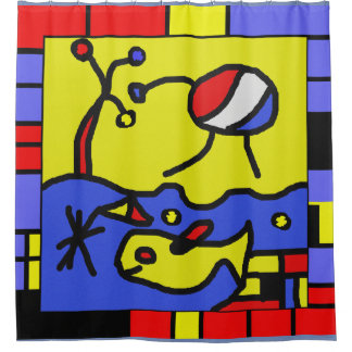 Image with fish modern art shower curtain