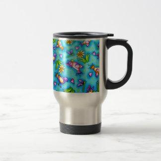 imagem com passarinhos stainless steel travel mug