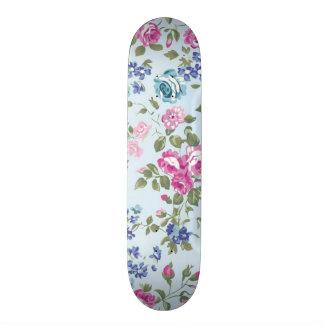 imagem floral rosa e azul custom skate board