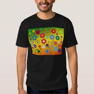 imagem flores variadas em fundo colorido t shirt