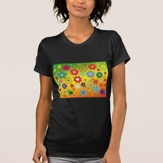 imagem flores variadas em fundo colorido tshirts
