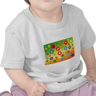 imagem flores variadas em fundo colorido tshirt