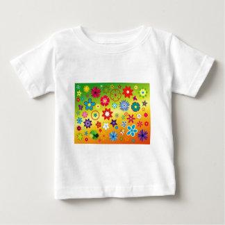 imagem flores variadas em fundo colorido t-shirt