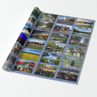 Images of Ocala with blue background Wrapping Paper