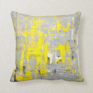 'Imagination' Grey and Yellow Abstract Art Pillow