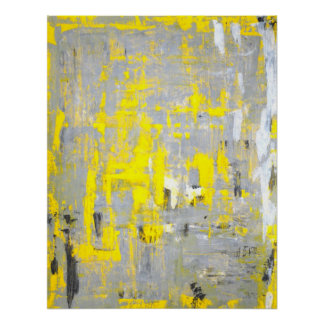 'Imagination' Grey and Yellow Abstract Art Poster