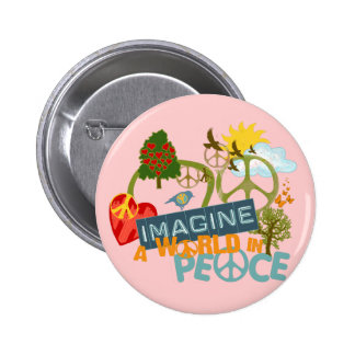 Imagine a World in Peace 6 Cm Round Badge
