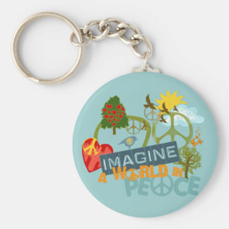 Imagine a World in Peace Basic Round Button Key Ring