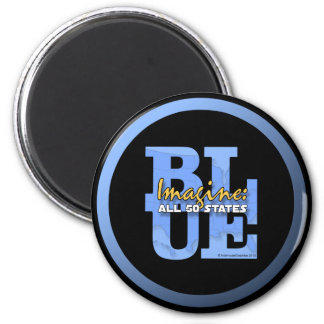 Imagine All 50 States Blue 6 Cm Round Magnet