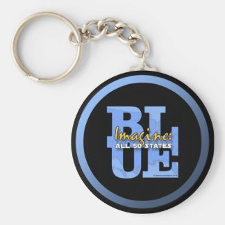 Imagine All 50 States Blue Basic Round Button Key Ring