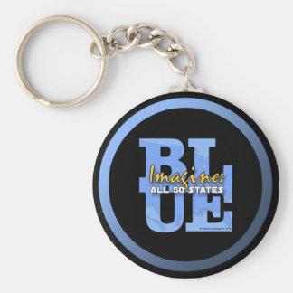 Imagine All 50 States Blue Basic Round Button Key Ring