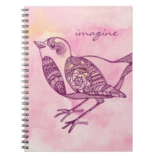 """Imagine"" Bird Notebook in Watercolor"