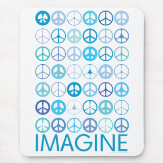 IMAGINE - Blue International Peace Signs Mousepads