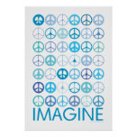 IMAGINE - Blue International Peace Signs Poster