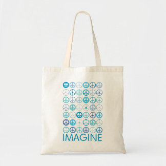 IMAGINE - Blue International Peace Signs Tote Bag