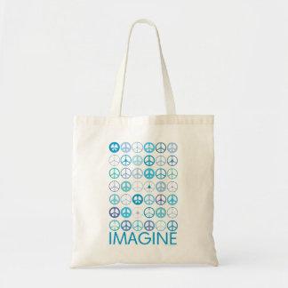 IMAGINE - Blue International Peace Signs Canvas Bag