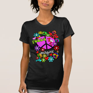 Imagine BLUE peace symbols T-Shirt 2