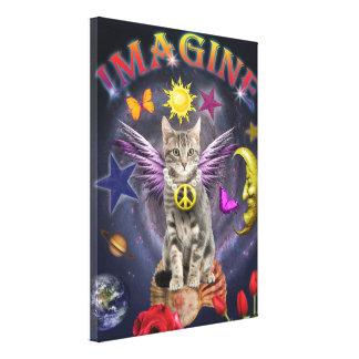 Imagine cat canvas print