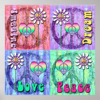 Imagine, Dream, Peace, Love Poster