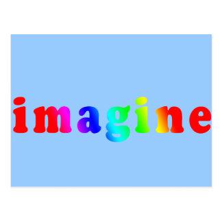 Imagine in Rainbow Color Lettering Postcard