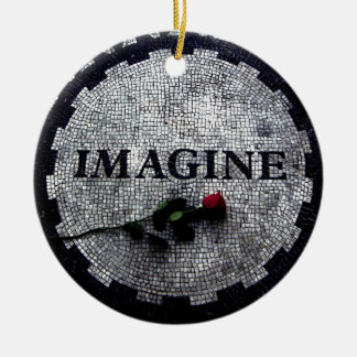 Imagine Monument with Red Rose Christmas Ornament