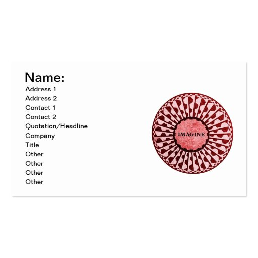 Imagine Mosaic, Strawberry Fields, Central Park 03 Business Card Template