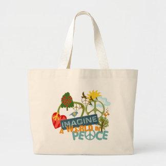 Imagine Peace Abstract Art Jumbo Tote Bag