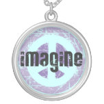 Imagine Peace Sign Round Pendant Necklace