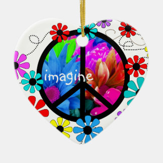 Imagine Peace Symbol and Retro Flowers Ceramic Heart Decoration