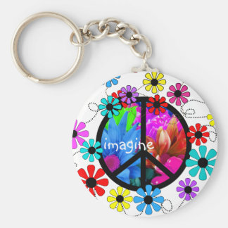 Imagine Peace Symbol and Retro Flowers Basic Round Button Key Ring