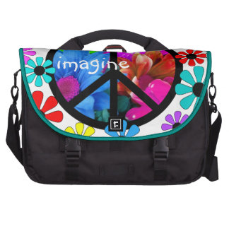 Imagine Peace Symbol and Retro Flowers Commuter Bags