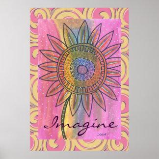 Imagine Peace Tie Dye Flower Poster