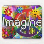 """""""Imagine"""" Psychadelic 70's Gifts Mousepad"""