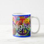 """Imagine"" Psychadelic 70's Gifts Classic White Coffee Mug"