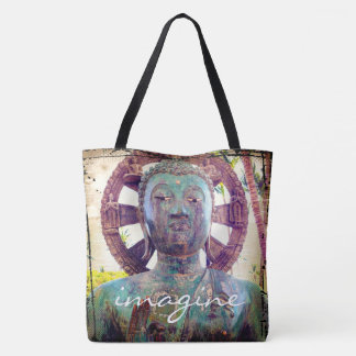 """Imagine"" quote Asian turquoise metal statue photo Tote Bag"