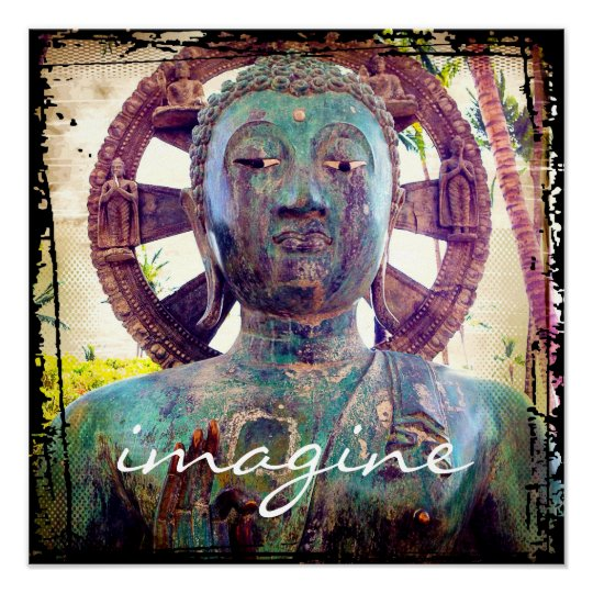 """""""Imagine"""" Quote Asian Turquoise Statue Head Photo Poster"""