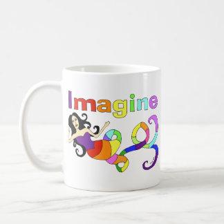 Imagine Rainbow Mermaid Basic White Mug