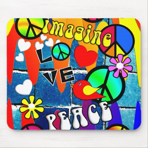 Imagine Retro Peace Symbols Mouse Pads