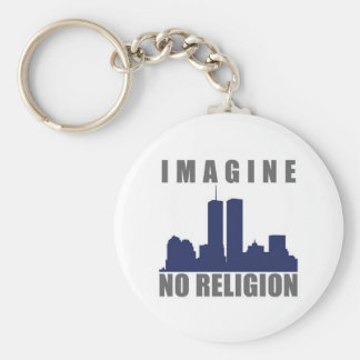 Imagine Twin Towers sillouette Basic Round Button Key Ring