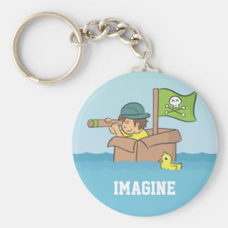 Imagining an adventure with cardboard boxes key ring