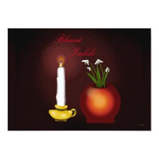 Imbolc Imbolg Candle and Snowdrops Brid Brighid 13 Cm X 18 Cm Invitation Card